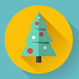 Color icon of christmas tree. Flat designed style