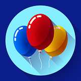 Festive multicolored air balloons icon holiday symbol, birthday party