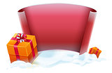 Red scroll and gift boxes in snow. Template for greeting Christmas card