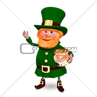3D Illustration of Saint Patrick in Hat Keeps Pot
