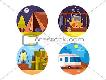 Camping set icons
