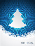 Blue christmas bursting greeting card design