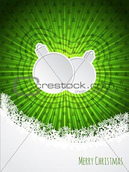 Green christmas greeting with bursting christmas decoration