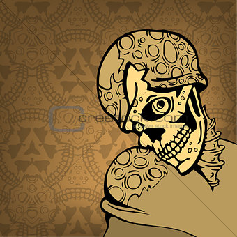 cartoon skull on an abstract background with a pattern. vector illustration
