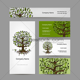 Business cards set with cosmetic tree design