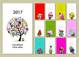 Icecream collection, calendar 2017 design