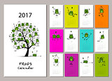 Funny frogs, calendar 2017 design