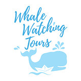 Whale watching tours logo in handwritten style