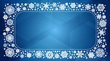 Vector frame with white snowflakes