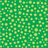 Seamless pattern with snowflakes on green