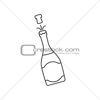 Champagne bottle line icon