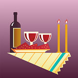 Table for two with cloth, glasses, bottle of wine.