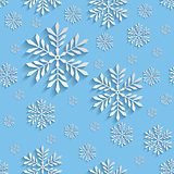 Abstract 3d Seamless Pattern with Snowflakes