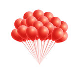 Vector bunch birthday or party red balloons