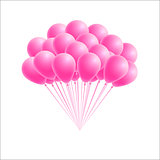 Vector bunch birthday or party pink balloons