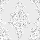 3d Floral Damask Seamless Pattern