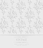 Vector 3d Vintage Invitation Card with Floral Damask Pattern