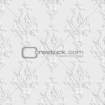 3d Floral Damask Seamless Pattern
