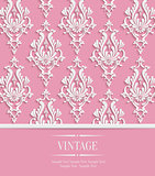 Vector Pink 3d Vintage Background for Greeting or Invitation Card with Damask Floral Pattern