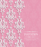 Vector Pink 3d Vintage Background for Greeting or Invitation Card with Floral Damask Pattern