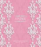 Vector Pink 3d Vintage Invitation Card with Floral Damask Pattern