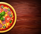 Realistic vector Pizza recipe or menu background