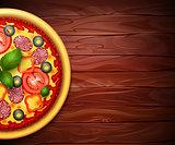 Realistic vector Pizza recipe or menu background