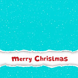 Christmas congratulation torn blue paper