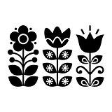 Swedish floral retro pattern - monochrome traditional folk art design