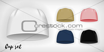 Knitted cap, vector mockup set