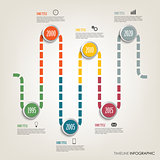 Time line info graphic with colored design tortuous direction template