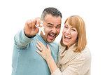 Mixed Race Couple Isolated on White Holding New House Keys
