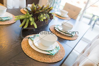 Close Up Abstract of Table Setting in House
