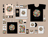Corporate flat mock-up template, floral mandala design