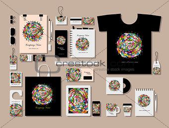 Corporate flat mock-up template, floral mandala design