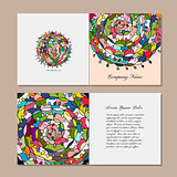 Greeting card design, floral mandala