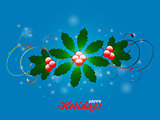 Happy holidays flourish over blue glowing background