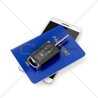 Car key, passport and smartphone