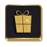 Gold Glitter Shiny Gift Box Icon. Button with Shadow for Your Si