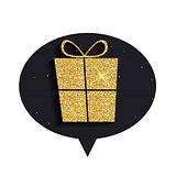 Gold Glitter Shiny Gift Box Speech Bubble Background
