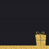 Gold Glitter Shiny Gift Box Background