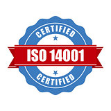 ISO 14001 certified stamp - quality standard seal