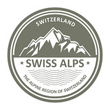 Snowbound Swiss Alps emblem - Switzerland stamp