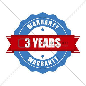 Three years warranty seal - round stamp