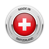 Silver medal Made in Switzerland with flag