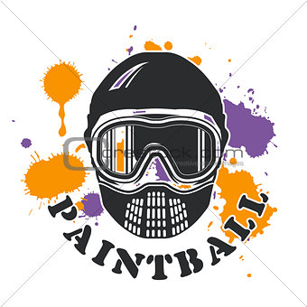 Paintball emblem - mask and paint blots and splashes