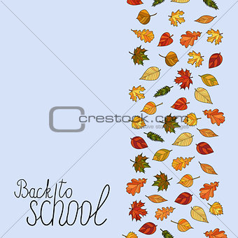 abstract vector doodle autumn leaves background - back to school