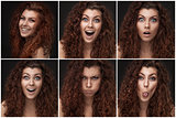 set of photos with woman with healthy brown curly hair