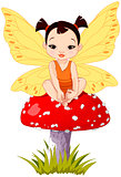 Cute Asian Baby Fairy On Mushroom