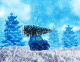 Xmas holiday travel on the snowy road